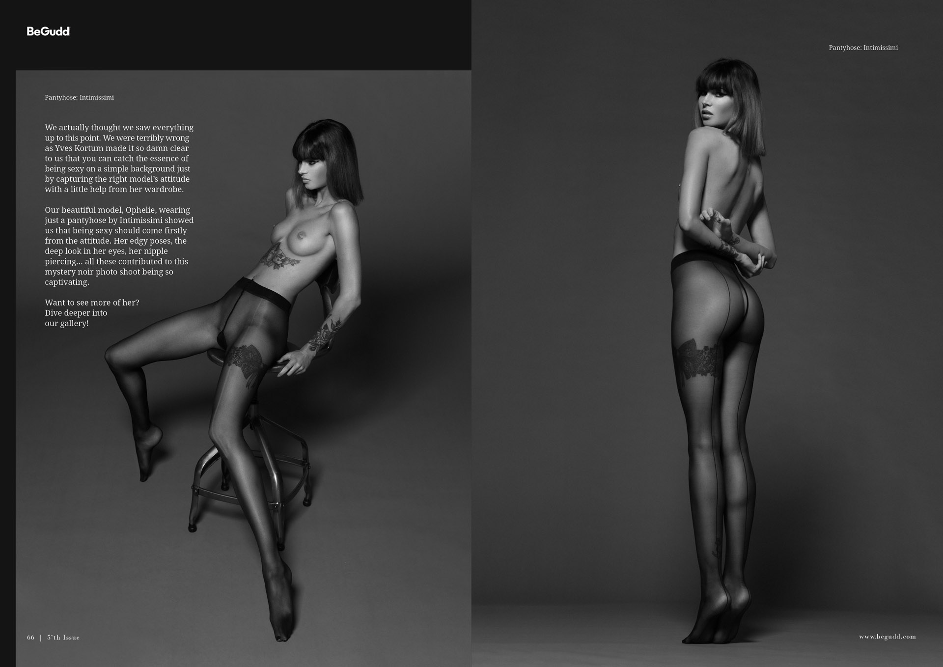 begudd magazine fashion editorial sexy black and white long legs lingerie calzedonia ophelie by yves kortum